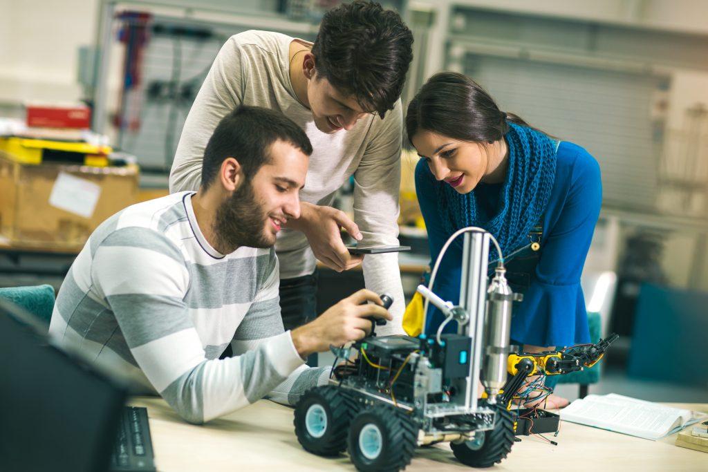 Robotics students in lab
