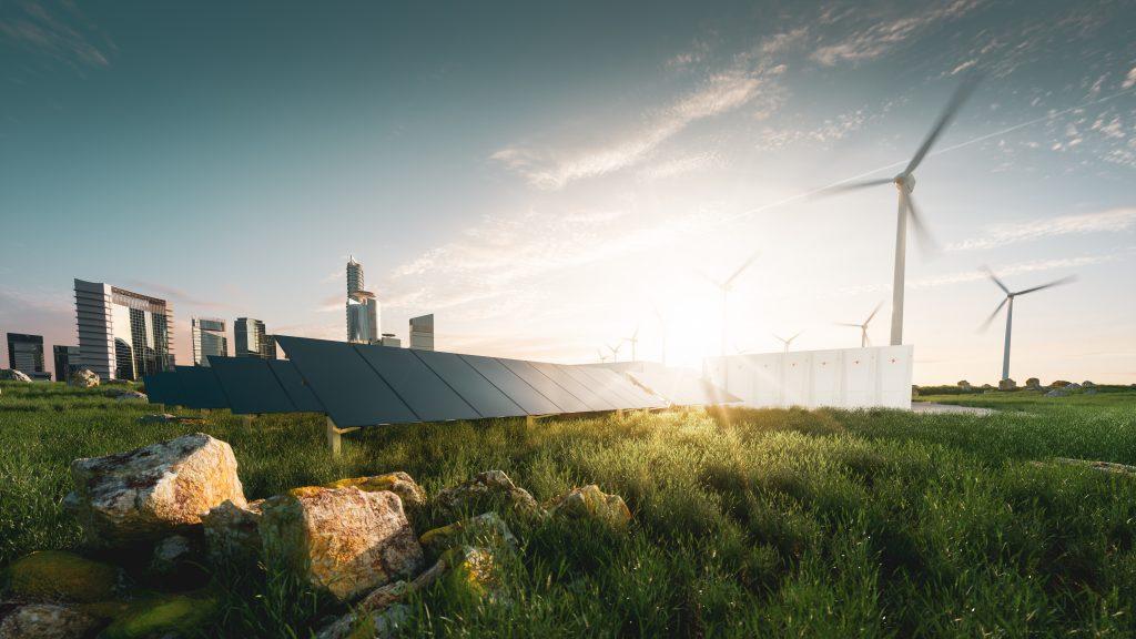 Photo illustration of wind turbines and solar array