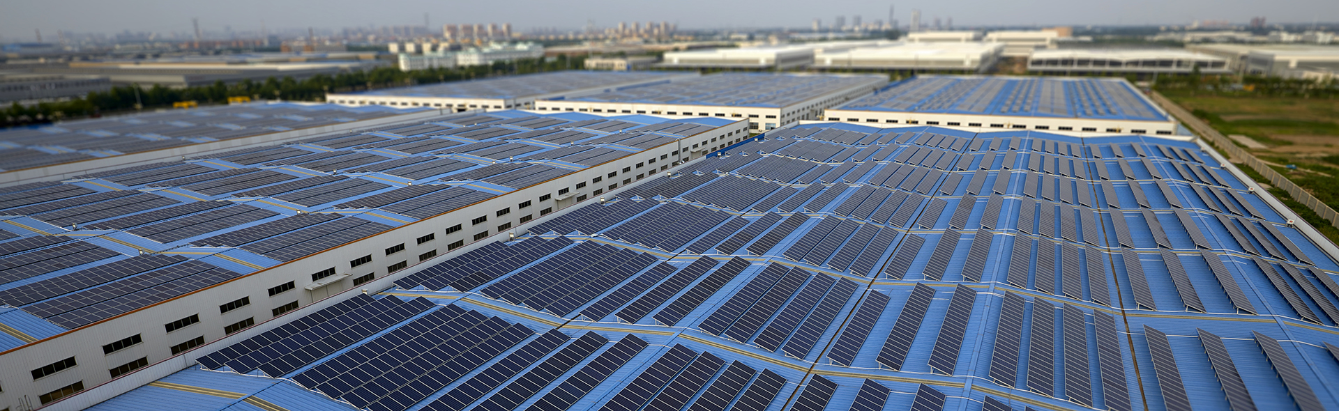 Solar panels on several industrial complex buildings